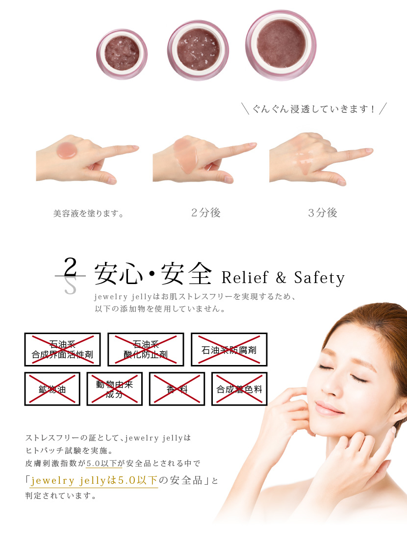お肌ストレスフリーで安心・安全 ヒトパッチ試験で「jewelry jellyは皮膚刺激指数5.0以下の安全品」と判定されてます